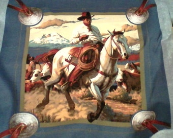 By the Yard Cowboy Cattle Drive Cotton fabric pillow panel
