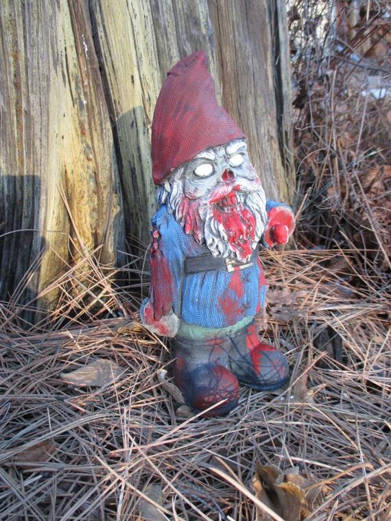Gnome Garden: Zombie Gnome Concrete Garden Statue Walking By