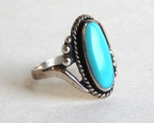 Vintage Navajo Sterling Silver Oval Turquoise Ring - Native American Silver - Southwestern Sterling - Size 6.5 - Very Clear Turquoise