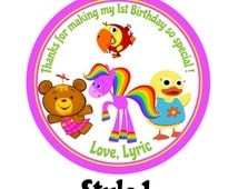 Personalized Stickers   Babys first tv inspired   First Birthday Stickers   Horse   Bunny   bird   Personalized Stickers set of 24