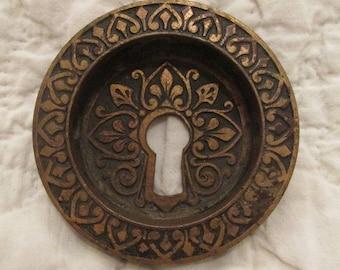 Antique Eastlake Door Escutcheon Recessed Pocket Keyhole Brass