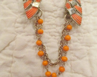 Vintage Sweater Clip / sweater guard Orange and gold tone metal SALE
