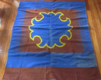 Antique Mexican Hand Loomed Blanket in Historic Colors