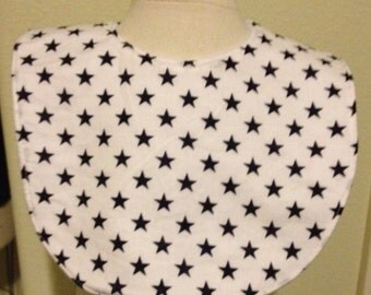 SALE blue stars on white baby bib
