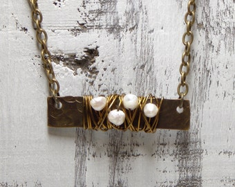 Bar Necklace Layering Necklace Dainty Jewelry Hammered Bar Necklace Minimalist Pearl Jewelry Layer Brass Wire Wrapped Delicate Simple