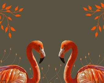 Flamingo Art, Orange and Green, Digital Bird, Wall Hanging, Fantasy Home Decor, Mirror Imaging, Wildlife Wall Hanging, Giclee Print, 8 x 10