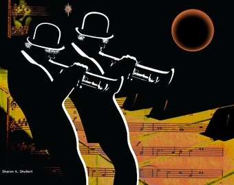 Trumpet Player Duo, Music Instrument Art, Musician Silhouettes, Entertainment Performing, Jazz Home Decor, Musical Wall Hanging, 8 x 10