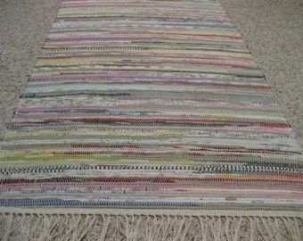 Handwoven Medium Bright Multi Rag Rug 25 x 52 (D) (M)