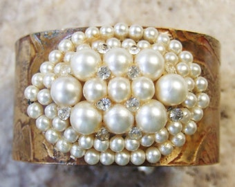 Etched Brass Cuff with Vintage Faux Pearl Rhinestone Bracelet