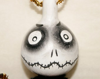 Spooky Gourd Ornament OOAK Haunted Halloween Ornaments (A 34)
