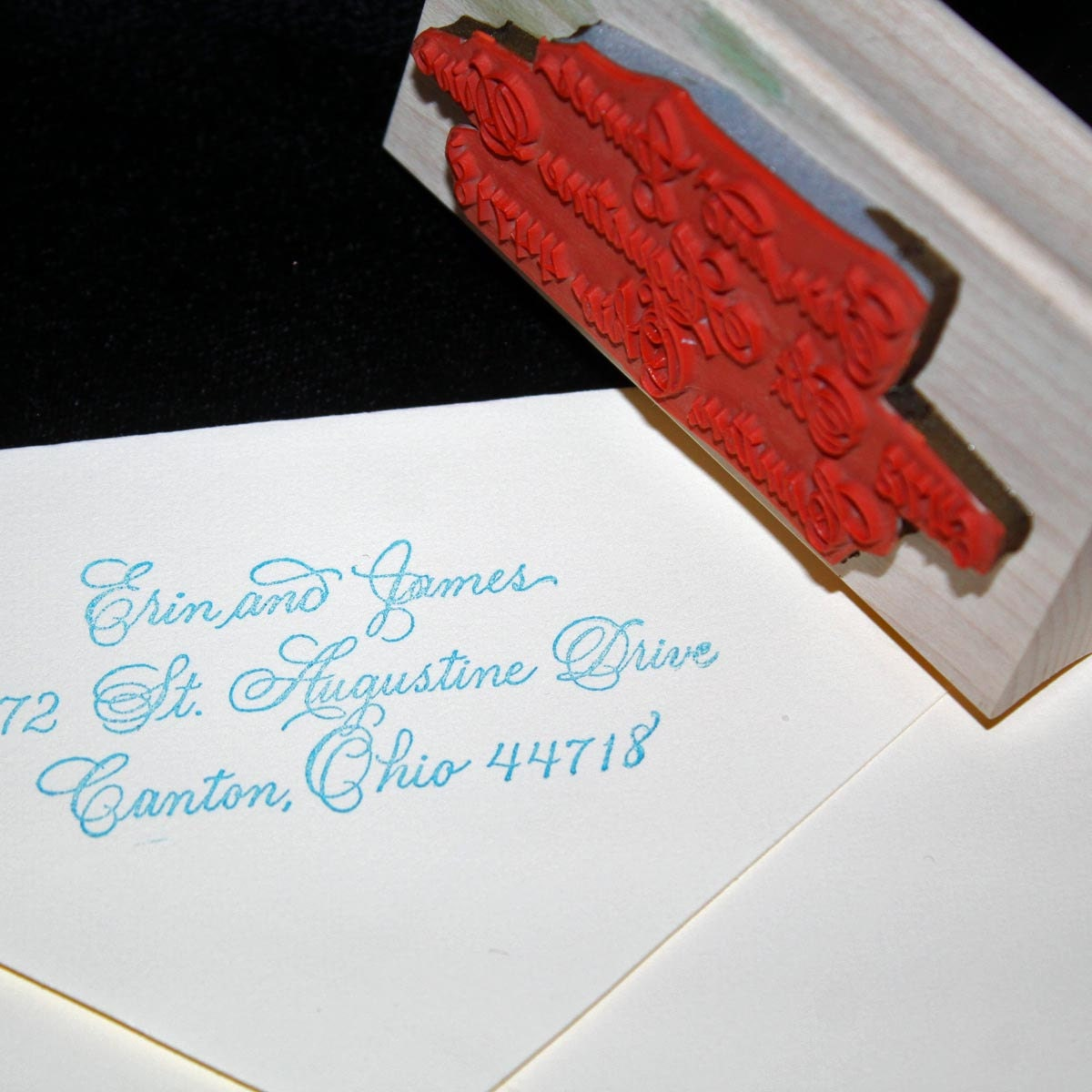 Calligraphy Address Stamp Flourished Spencerian Custom