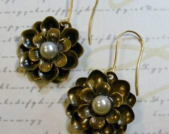 Brass Pearl Flower Earrings, 2 inches or 5 cm