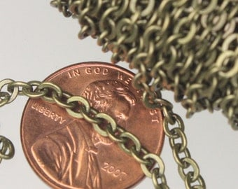 Antique Brass Chain, Bulk , 100 ft spool of Antique Bronze Flat  Soldered Cable Chain - 3.4x3.4mm SOLDERED LINK