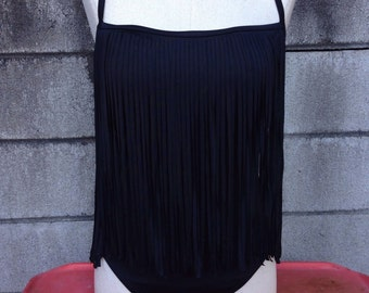 Black Fringe Swimsuit Vintage 1990s Sirena long Fringed One Piece Bathing Suit