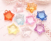 Faceted Acrylic Star Charm or Beads - 50 pieces | Acrylic Beads | Plastic Beads | Resin Jewelry | Transparent Beads