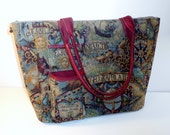Commuter/Travel Bag Large Old World Map Zipper Pockets Roomy Double Straps