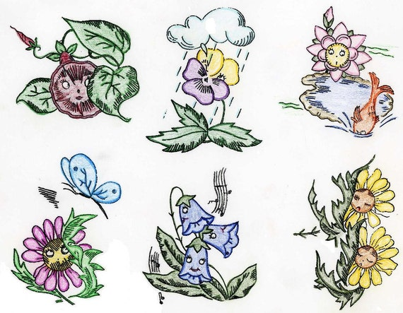 Animated Flowers For Dish Towels Vintage Hand Embroidery 1960s