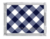 Personalized Lucite Tray - Buffalo Check