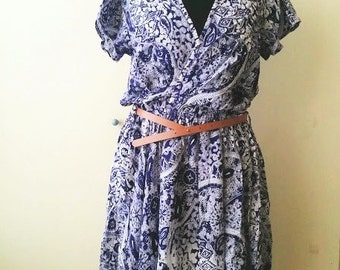 Not mass produced-- Unique Balinese handprint Batik paisley above the knee country style dress small/medium/large