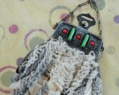 Antique Beaded Purse Intricate Clasp with Red and Green Stones Cotton Lining Needs Some Repair