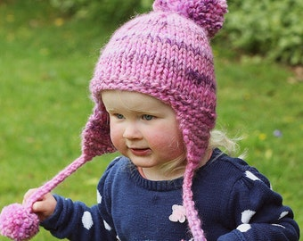 PDF Knitting Pattern Earflap Hat Baby Child Adult sizes KELSEY Hat Knitting Pattern Knit Pompom Hat Digital Pattern