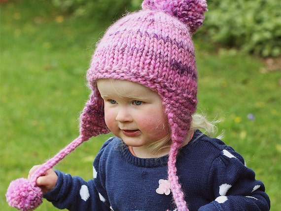 Free Knitting Patterns For Toddler Earflap Hats : PDF Knitting Pattern Earflap Hat Baby Child Adult sizes KELSEY