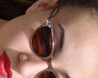 Cat Eye Sunglasses, Bronze Glasses, Aluminum Glasses, Etched Glasses, 50s Sunglasses, 1950s Sunglasses, Rockabilly Glasses,