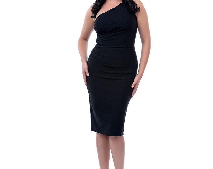 Stop Starring Black Dress, Bombshell Dress, One Shoulder Dress, Wiggle Dress, Pencil Dress, Plus Size, 50s Style Dress, Cocktail Dress,