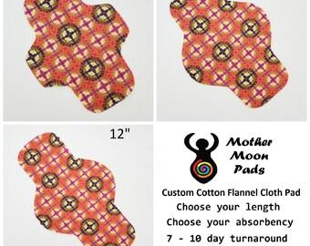CUSTOM Cotton Flannel Cloth Pad ~ MotherMoonPads Pantyliner, Moderate, Heavy, or PostPartum Pad ~ Cloth Menstrual Pad ~ Custom Pad ~ Windpro