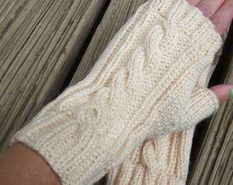 Acrylic Cable Knit Fingerless Gloves Cream