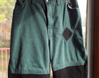 Resurrected Jeans, denim, Madjask, upcycled, boho, green black, recycle, festival