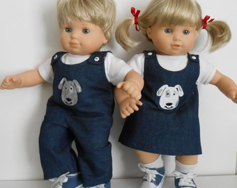 Blue denim outfits with dog appliques for Bitty Twins