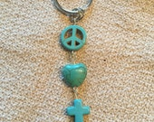 Peace love and cross keychain. Faux turquoise