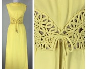 Reserved Vintage 1960s yellow rayon dress amazing waistline accents rhinestones gown dress