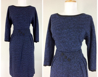 Vintage 1950s wiggle dress blue black nubby wool matching belt cocktail party dress