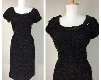 Vintage 1950s 60s Black Soutache Dress Cocktail Party Sequin Wiggle Dress