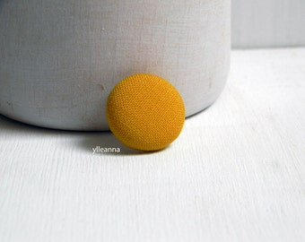 Lapel pin. Mens lapel button. Round boutonniere. Lightweight cool wool. Saffron buttonhole.