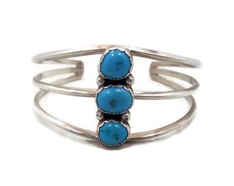 Turquoise Bracelet, Sterling Silver, Cuff Bracelet, Vintage Navajo Yazzi, Signed, Boho Jewelry, Bohemian, Big Statement, Native American