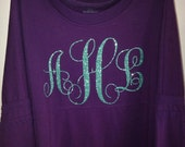 Custom Monogrammed (embroidery OR glitter!) Pompom Pullover/Spirit Jersey Ladies & Youth Sizing!!