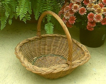 Vintage Woven Wicker Twisted Handled Country Flower Gathering Basket