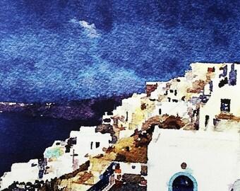 Santorini Greece Greek Islands Canvas Art Print - Santorini Greece Photography - Santorini Photo on Canvas - Digital Art Watercolor 16x20