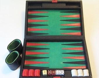 Vintage Small Backgammon Game Travel Case Black Red White Chips