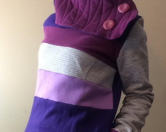 PURPLE PARADISE - Hoodie Sweatshirt Sweater - Recycled Upcycled - One of a Kind Women - SMALL