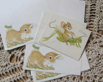 Vintage Stationery Notecard Note Card Current Critter Bill Stroble Linda Powell Bunny Mouse