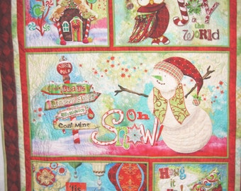 Quilted wall hanging Christmas  Winter Snowman holiday Owl decoration Quiltsy handmade