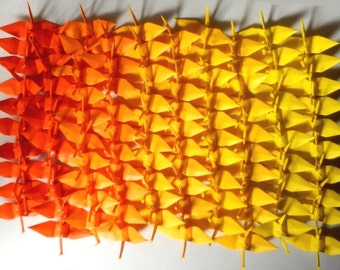 100 Small Origami Cranes Origami Paper Cranes - Made of 7.5cm 3 inches Japanese Paper - Orange Yellow