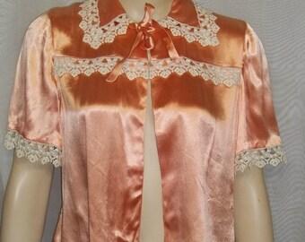 HOT SALE Vintage Satin Peach Antique Lace Bed Jacket Small Medium