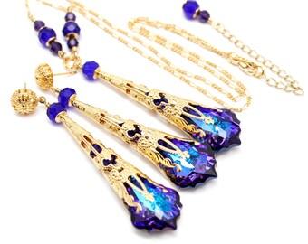 Purple Blue Jewelry Set, Steampunk Gold Earrings Necklace, Baroque Swarovski Crystal, Royal Blue Eggplant Amethyst Cobalt, Bridal Victorian