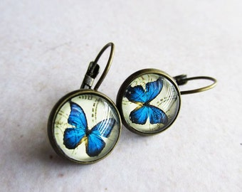 Blue Butterfly Glass Dome Lever Back Earrings