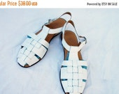 SALE 80s White Fisherman Sandals size 8 Unisa Brazil Woven Leather